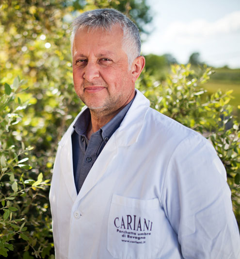 Giuliano Cariani company owner Cariani Porchetta of Bevagna, typical product of Umbria Italy