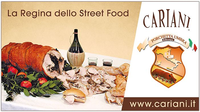 Look for the Cariani logo to find out the Porchetta of Bevagna: food track, markets, Italy festivals